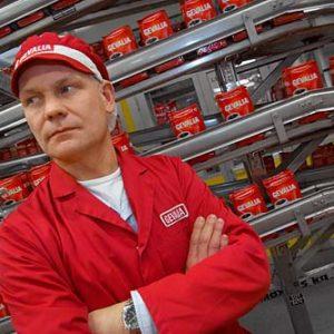 Mikael Kock på Gevalias/Krafts Foods kafferosteri i Gävle, Porträtt i miljö Foto: Kjell Fredriksson
